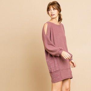 Dresses & Skirts - Long Sleeve Waffle Knit Open Shoulder Dress
